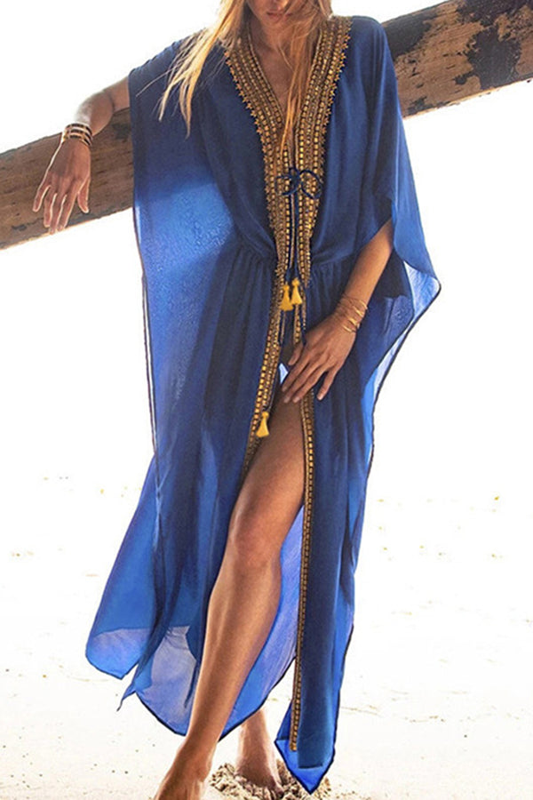 CupNami Navy Blue Chiffon Cover Up