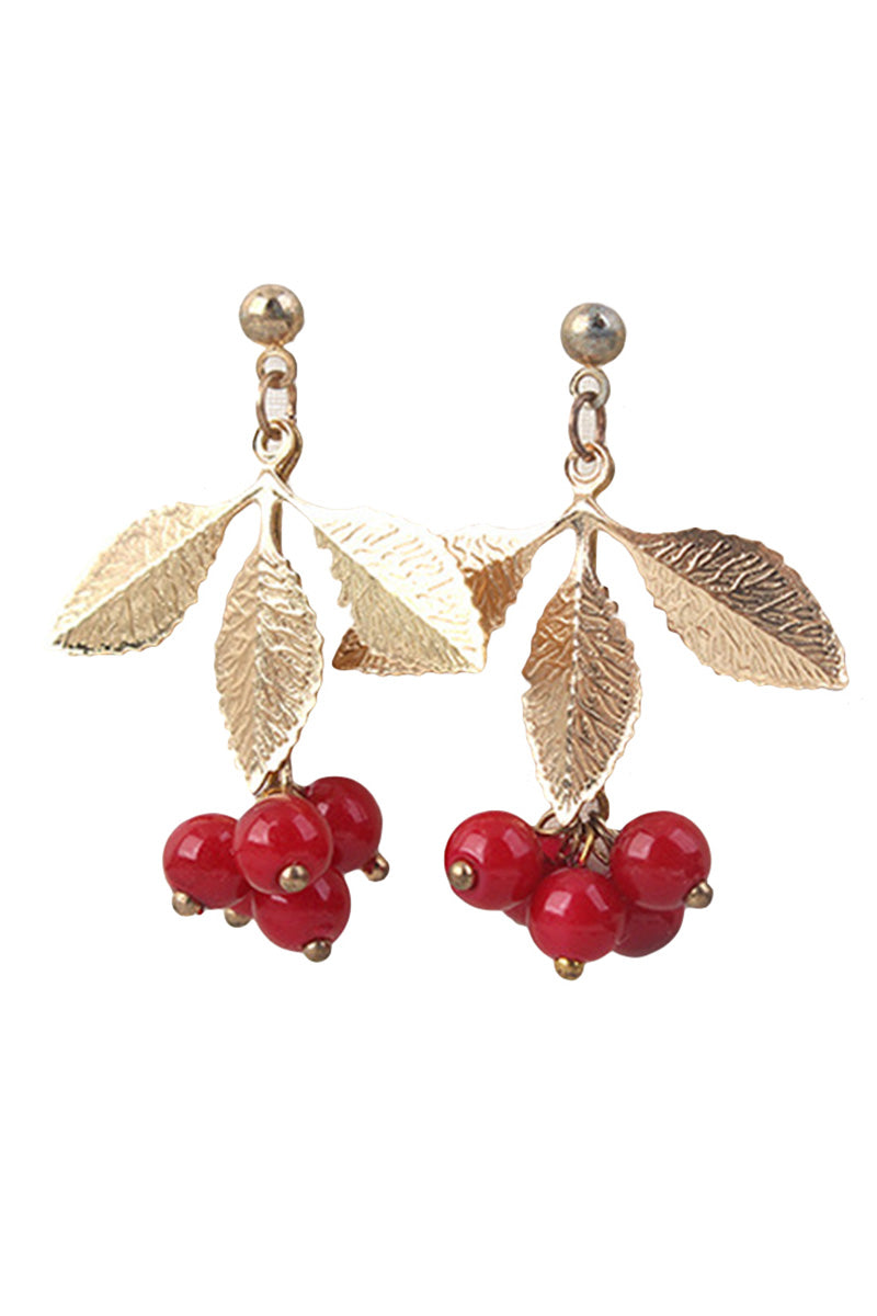 CupNami Cute Cherry Leaf Earrings