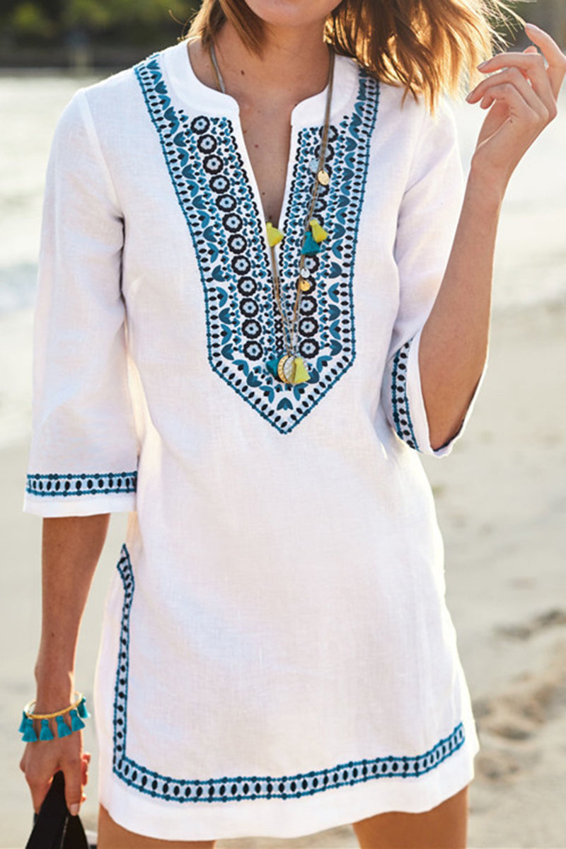 CupNami V-neck Embroidery Rayon Cover Up