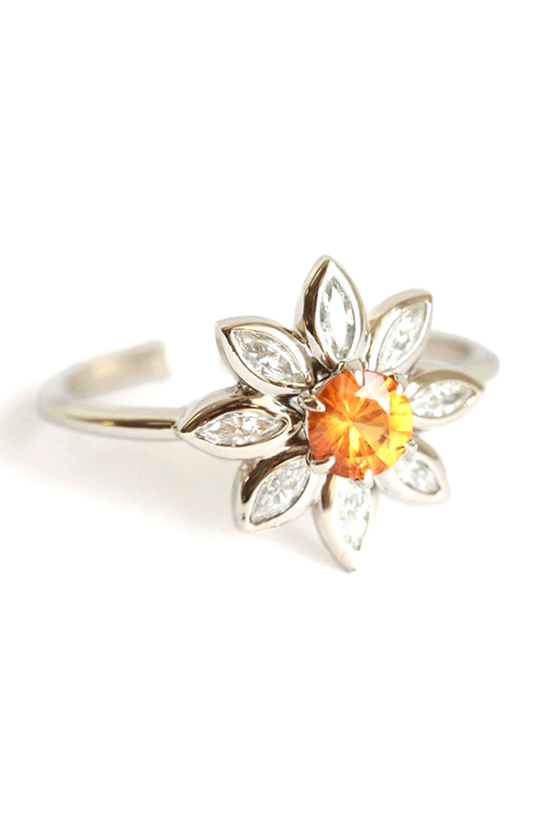 CupNami Shinny Diamond Mounted Sunflower Rings