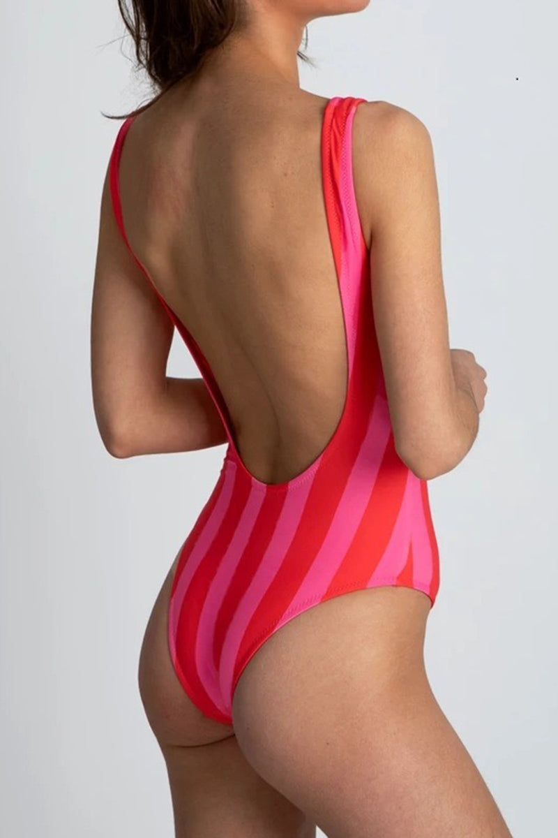 CupNami Red Stripe One Piece Swimsuit With Front Zip