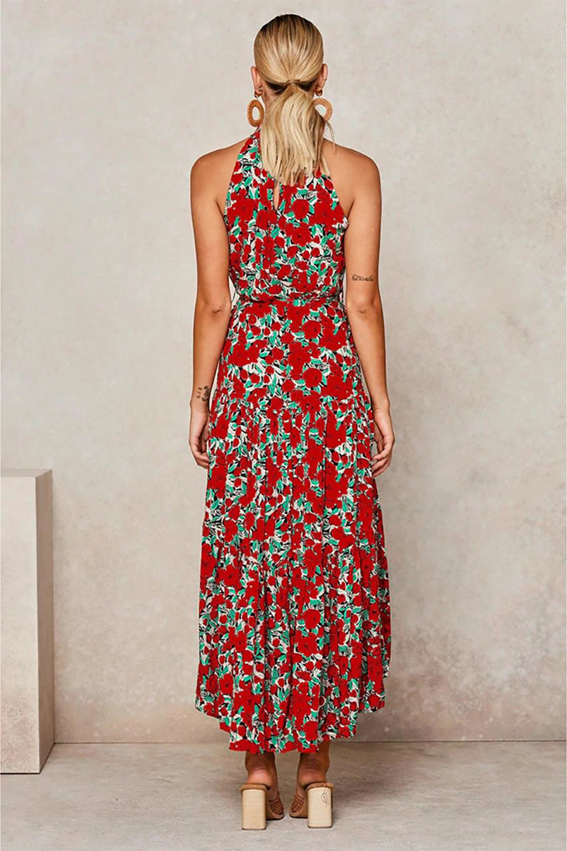 CupNami Boho Sleeveless Maxi Dress With Knotted Belt
