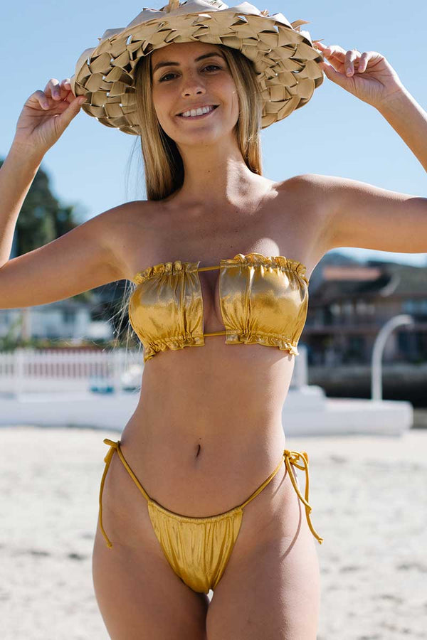 Solid Golden Lace Up Bikini Set