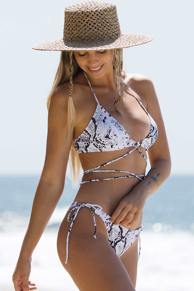 Snake Print Halter Lace Up Bikini Set