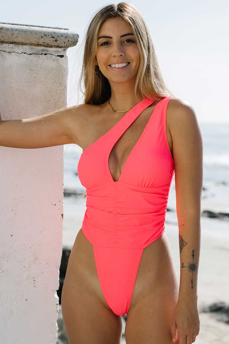 Pink Solid Cut Out One Piece Swimsuit