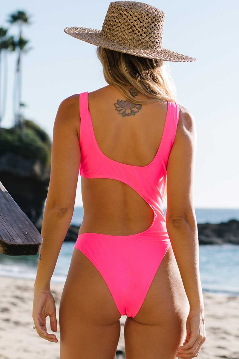 Colorful Cut Out One Piece Swimsuit