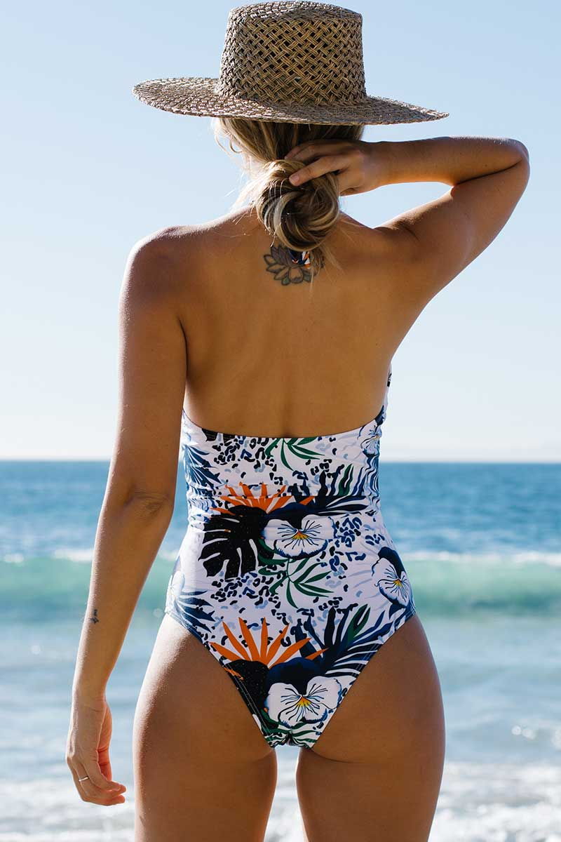 Floral Cut Out Halter One Piece Swimsuit