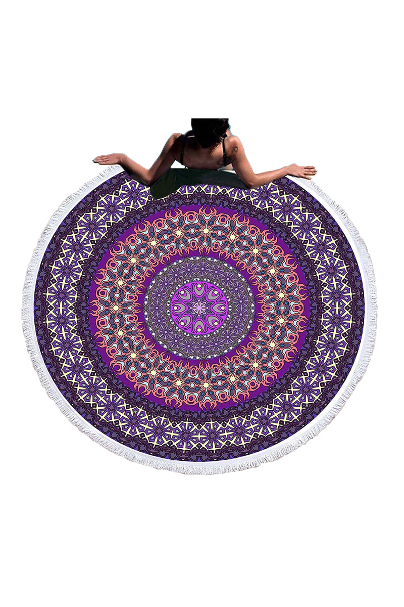 CupNami Purple Mandala Beach Towel With Tassels