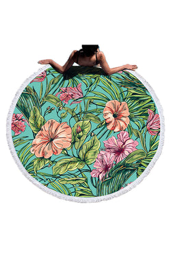 CupNami Leafy Round Beach Towel With Tassels