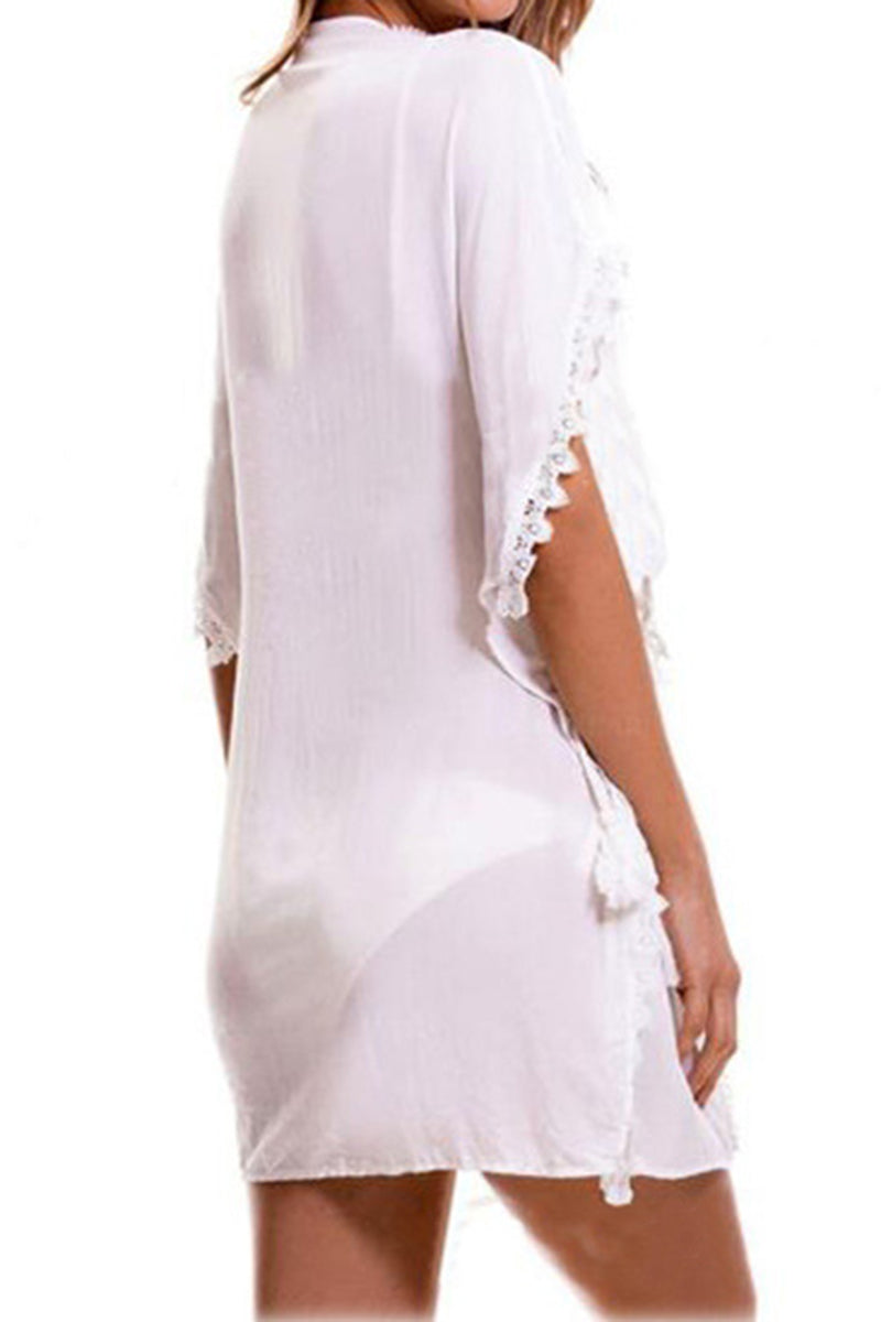 CupNami White Lace Chiffon Cover Up