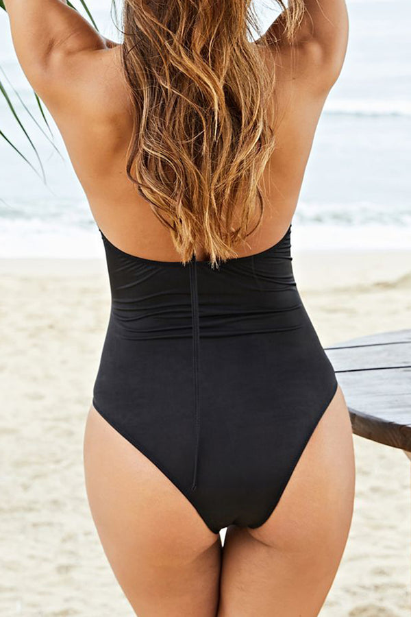 CupNami Black Cut Out Halter One Piece Swimsuit