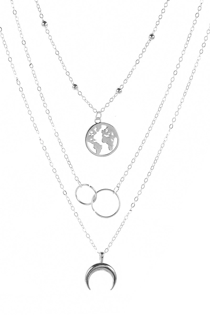 CupNami Three Deck Moon And Map Necklace