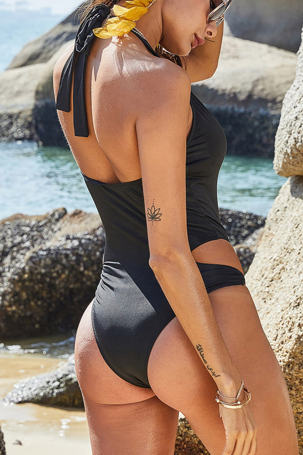 CupNami Sexy Black Deep V-neck One Piece Swimsui