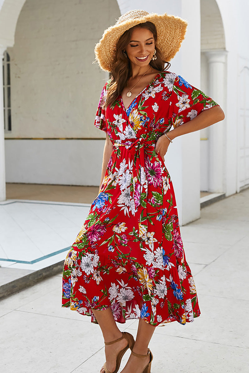 CupNami Bright Floral Midi Dress