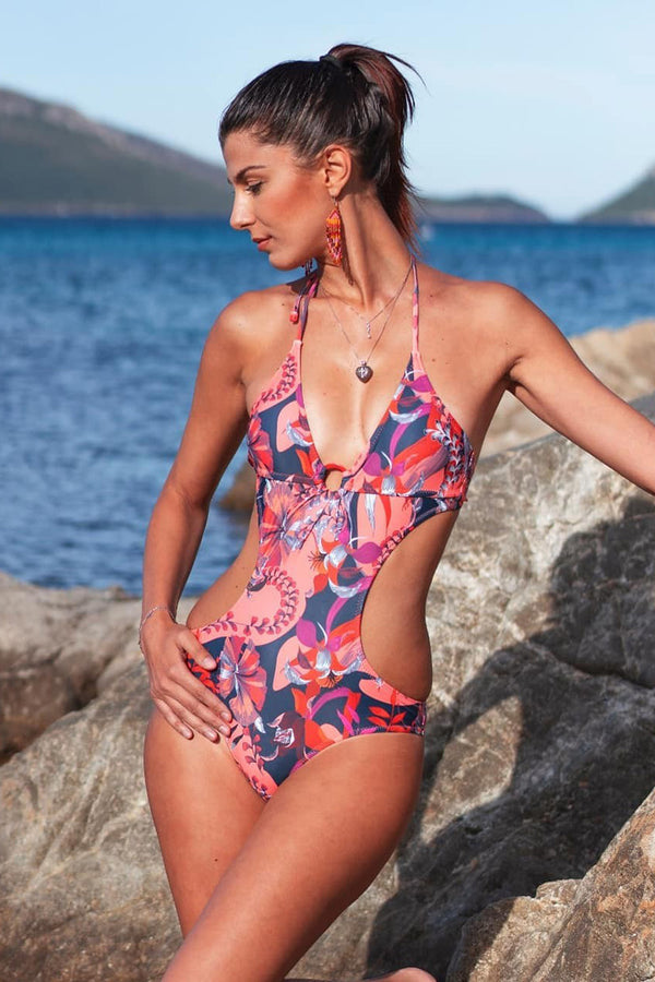 CupNami Leafy Floral Print One Piece Swimsuit