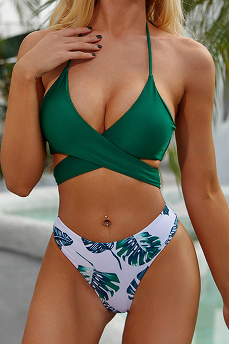 CupNami Tropical Lace Up Bikini Set