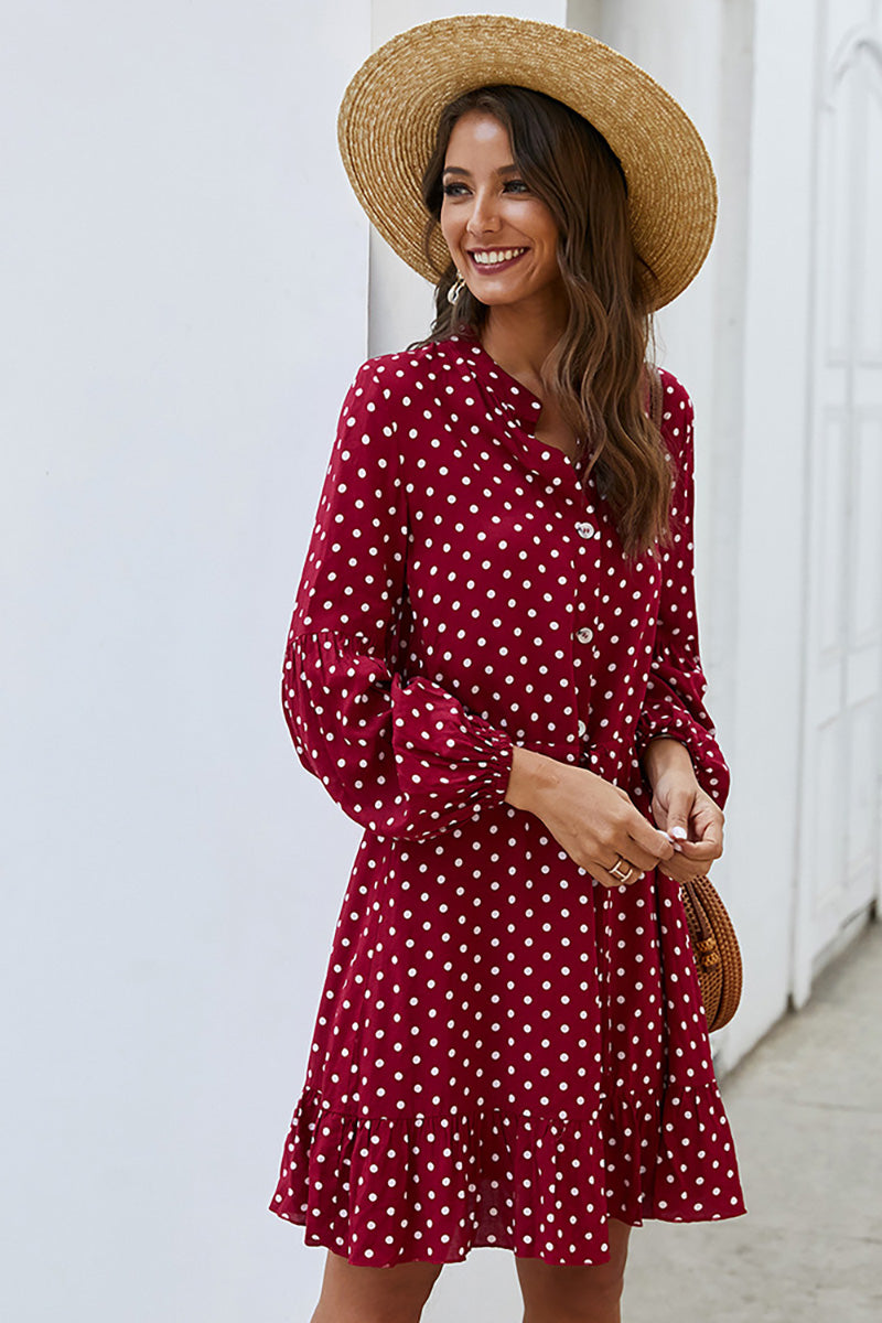 CupNami Dotted Mini Dress With Ruffle Hem