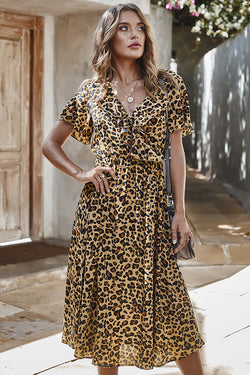 CupNami Leopard Ruffle Neck Midi Dress