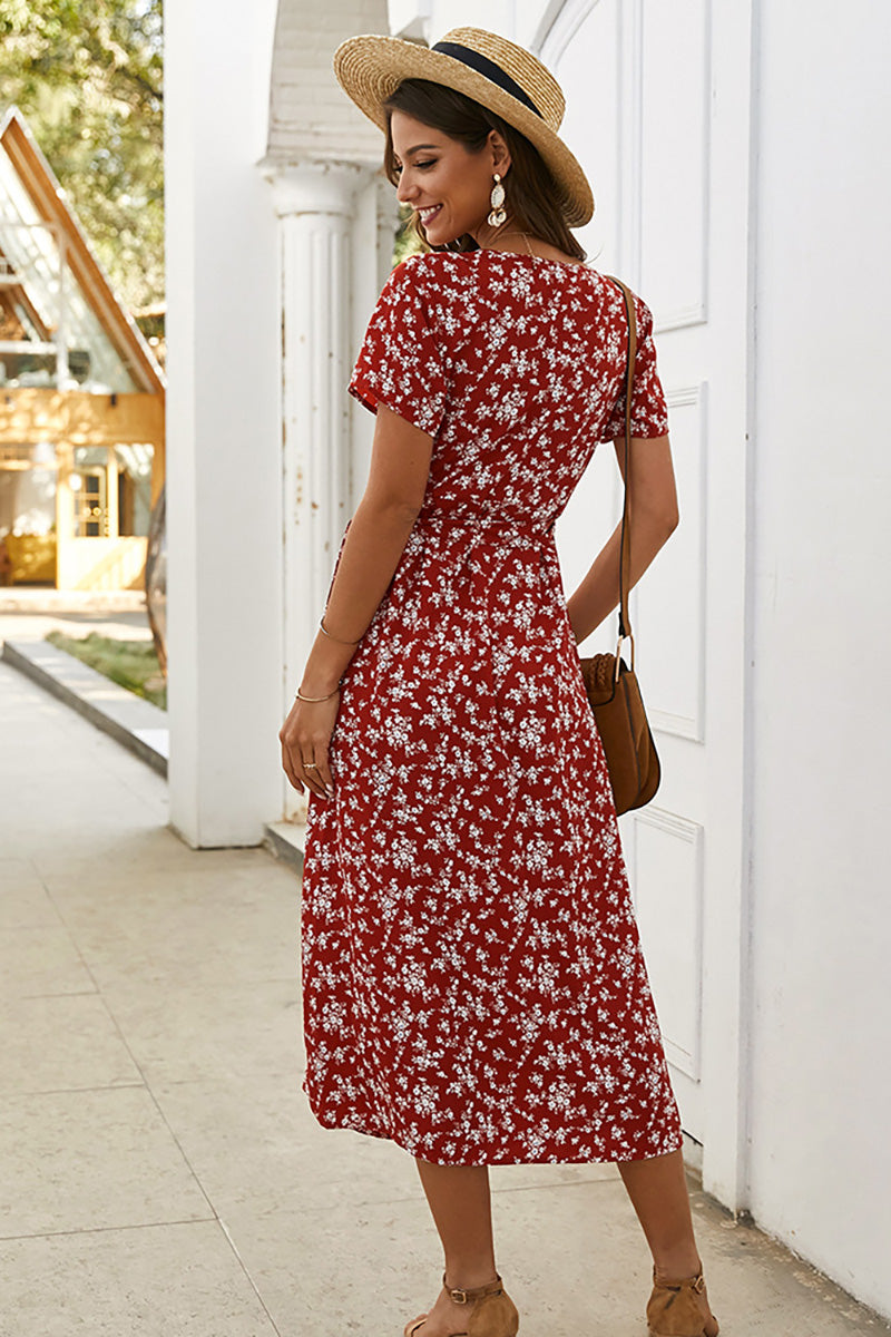 CupNami Floral Short Sleeve Midi Dress