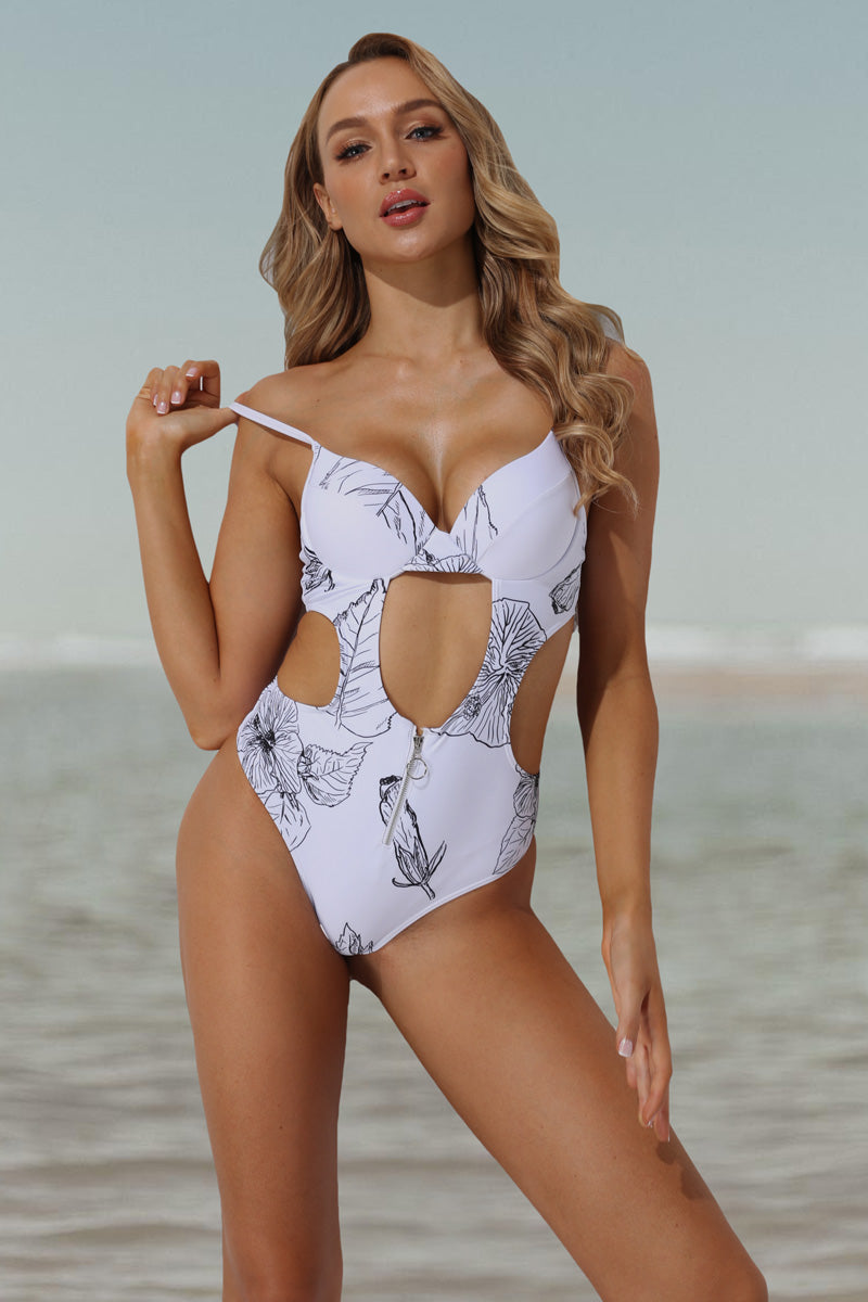 CupNami Floral Tummy Cutout One Piece Swimsuit