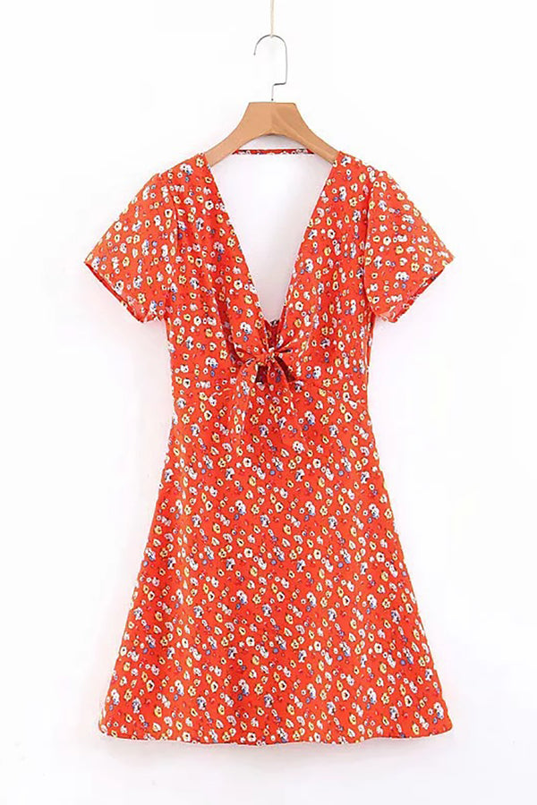 CupNami Red Boho Front Knotted Dress