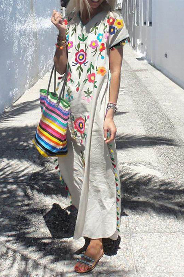CupNami White Floral Dress With Tassel Edge