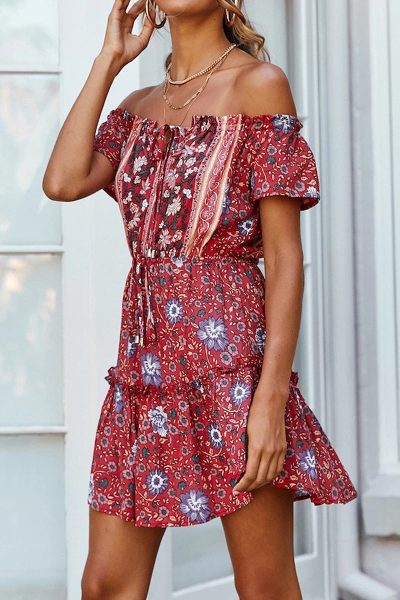 CupNami Bohemia Off-Shoulder Ruffle Mini Dress