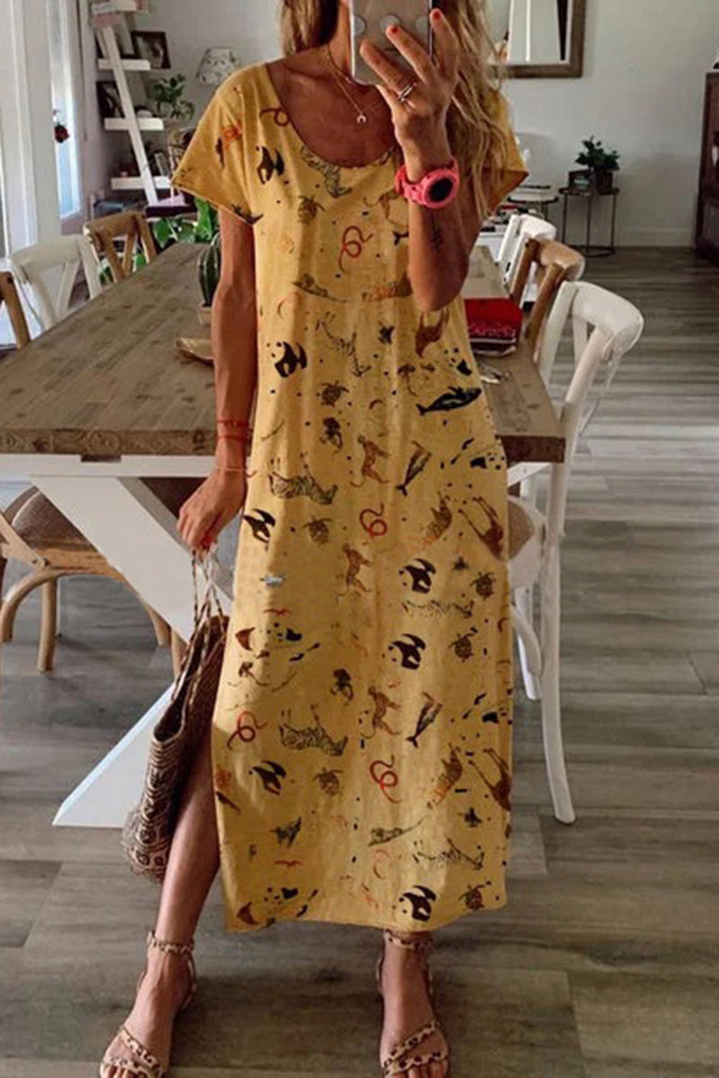 CupNami Figure Printed Round Neck Maxi Dress