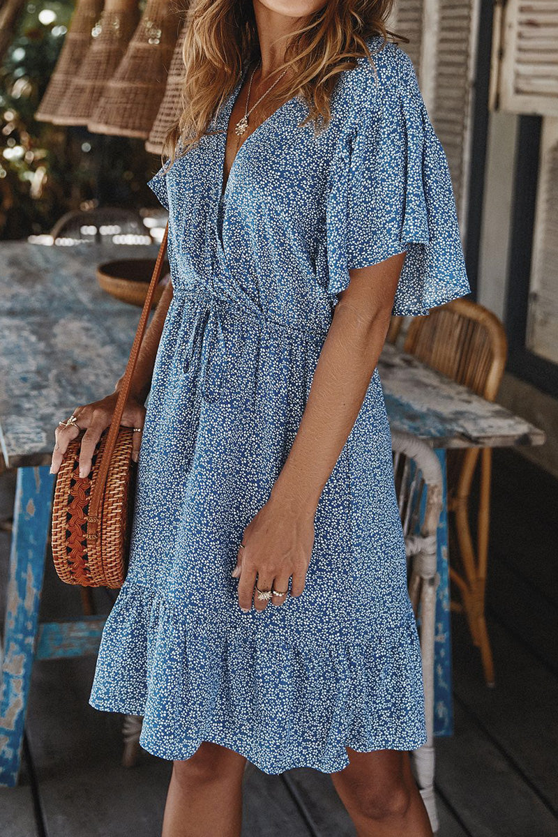 CupNami Floral Drawstring Waist Midi Dress