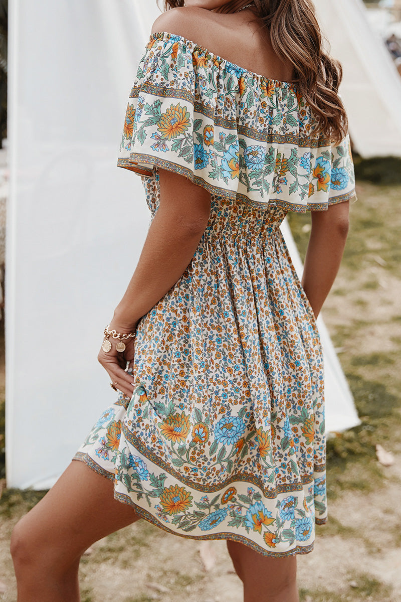 CupNami Floral Off-Shoulder Mini Dress