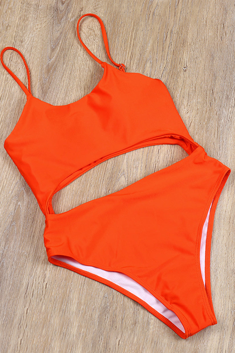 CupNami Orange Tummy Cutout One Piece Swimsuit