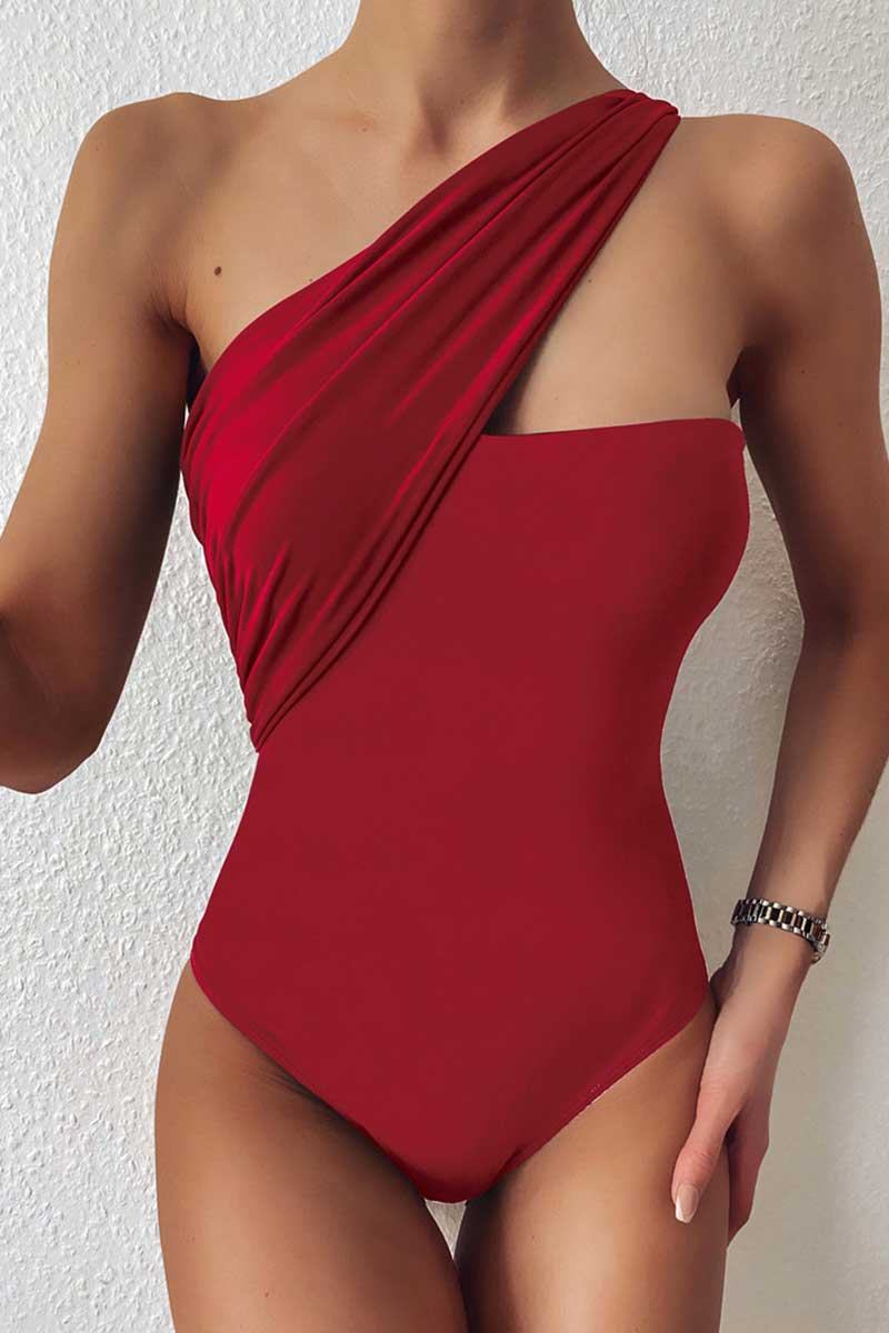 One Shoulder Solid One Piece Swimsuit
