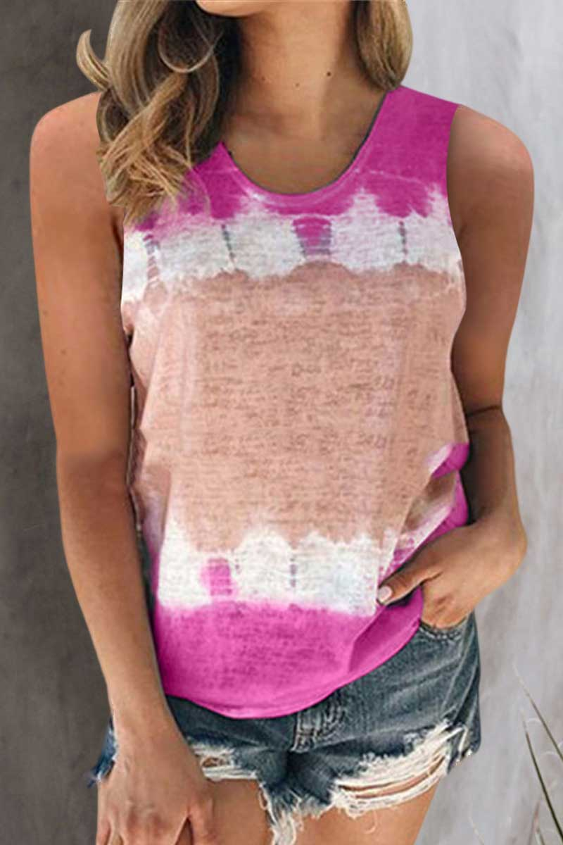 9 Colors Print Round Neck Vest Top