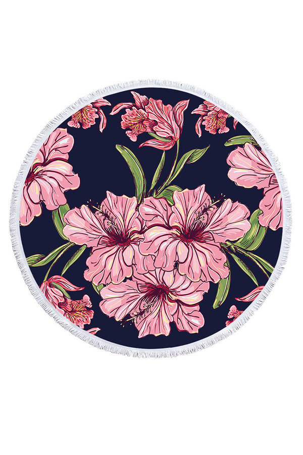 CupNami Floral Round Beach Towel With Tassels