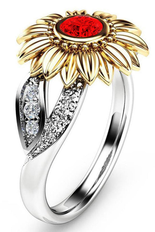 CupNami 18K Plated Sunflower Shaped Rings