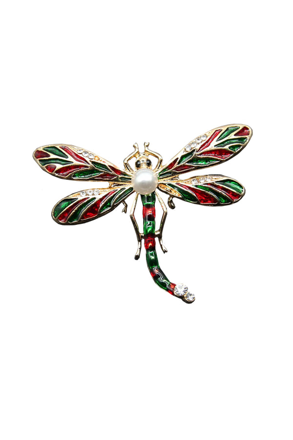 CupNami Pearl Diamond-Mounted Dragonfly Shaped Brooch