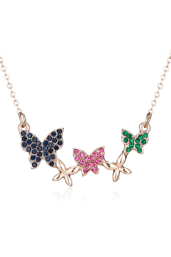 CupNami Three Colors Butterfly Necklace Encrusted By Rhinestone