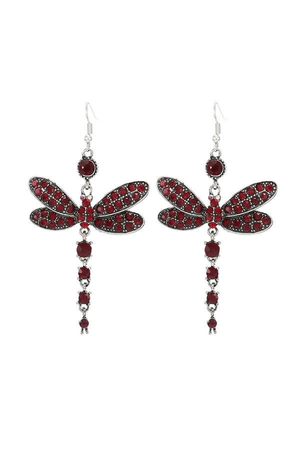 CupNami Vintage Diamond-Mounted Dragonfly Shaped Earrings