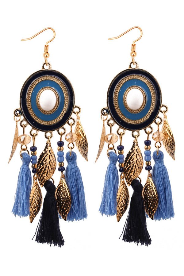 CupNami Drop Tassel And Leaves Earrings