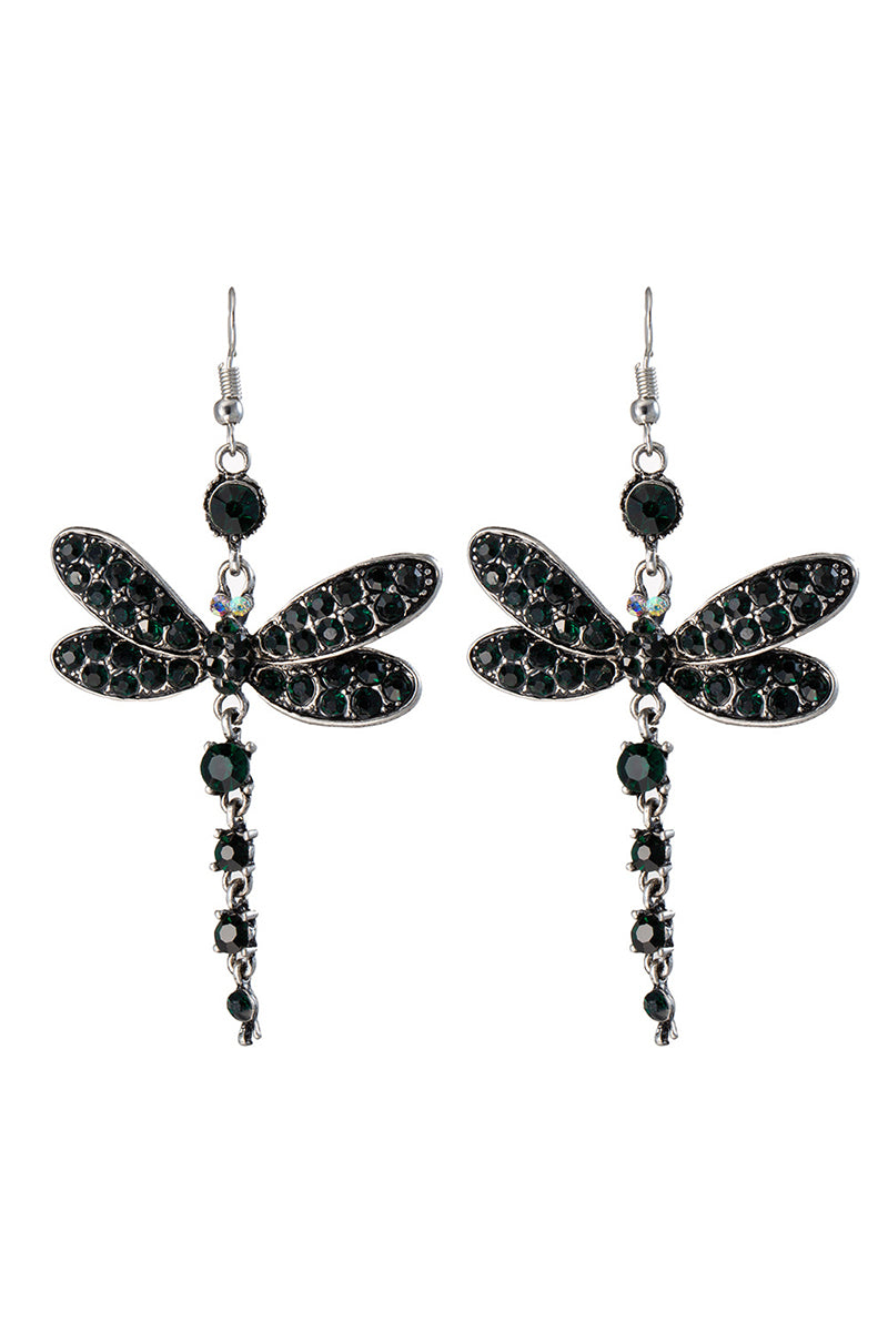 CupNami Dragonfly Shaped Earrings Encrusted By Crystal Rhinestones