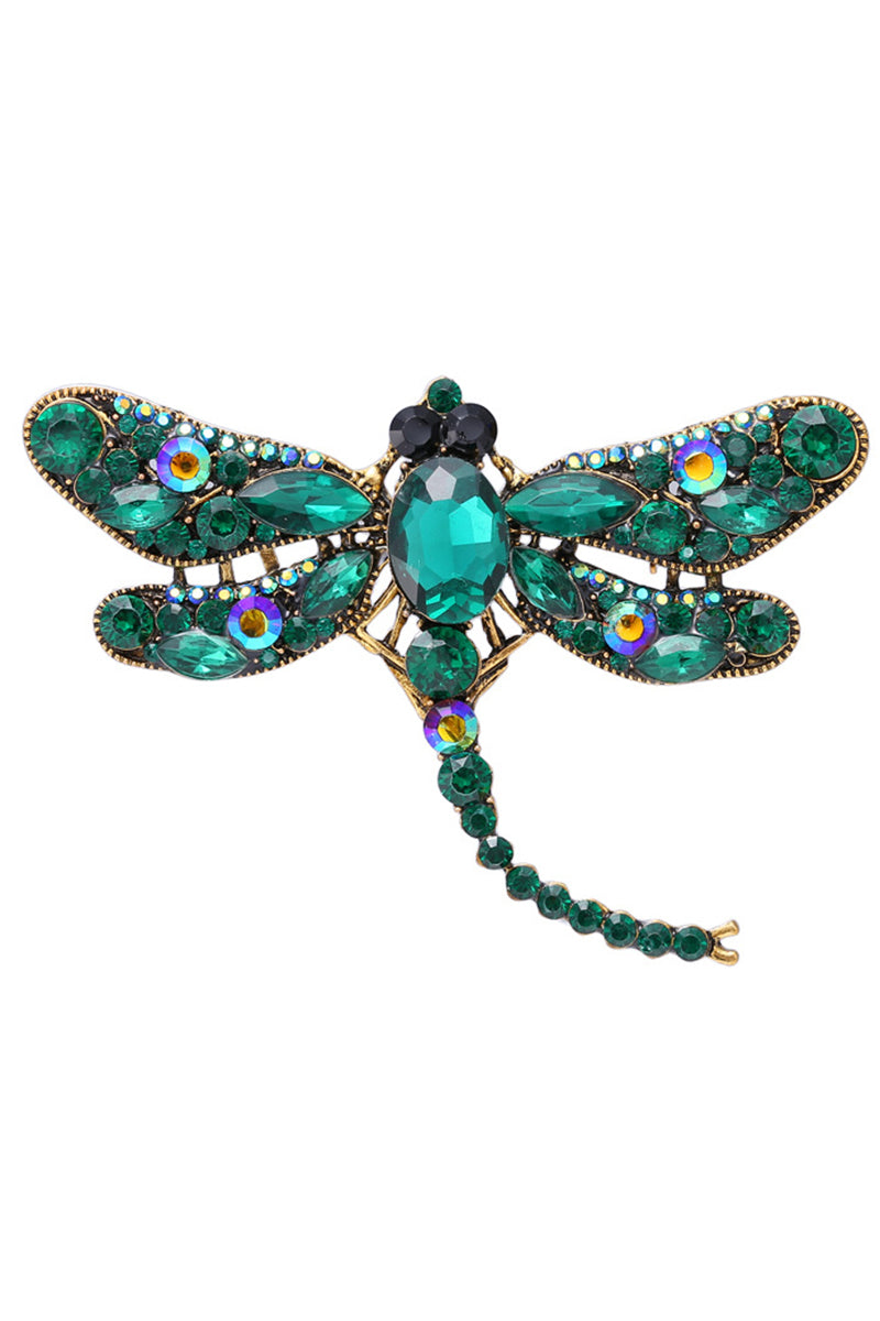 CupNami Diamond-Mounted Dragonfly Shaped Brooch