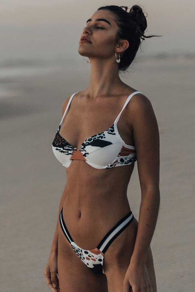Floral and Leopard Print Bikini Set