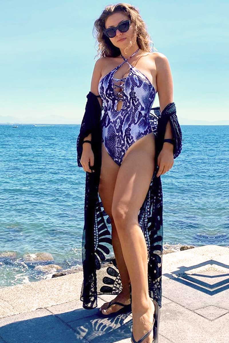 CupNami White Snake One Piece Swimsuit