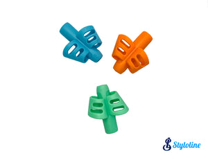 support stylo papillon - vert, bleu, orange