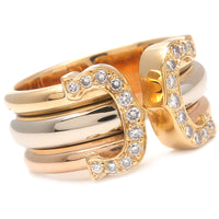 Cartier 2C Diamond Ring LM Three Color K18 YG/WG/PG #50 US5.5 EU51-dct-ep_vintage luxury Store