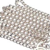 CHANEL CoCo Mark Chain Belt Silver x White 05V-dct-ep_vintage luxury Store