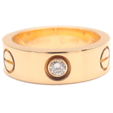 Cartier Love Ring 3P Half Diamond K18 Yellow Gold #48 US4.5