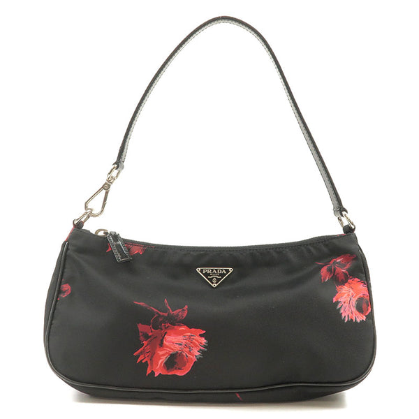 PRADA Nylon Leather Rose Print Pouch Shoulder Bag Black