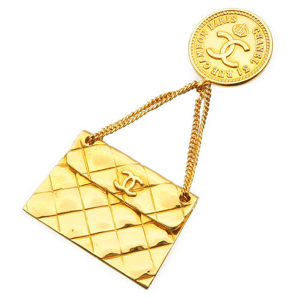 CHANEL-CoCo-Mark-Bag-Charm-Brooch-Gold-93A