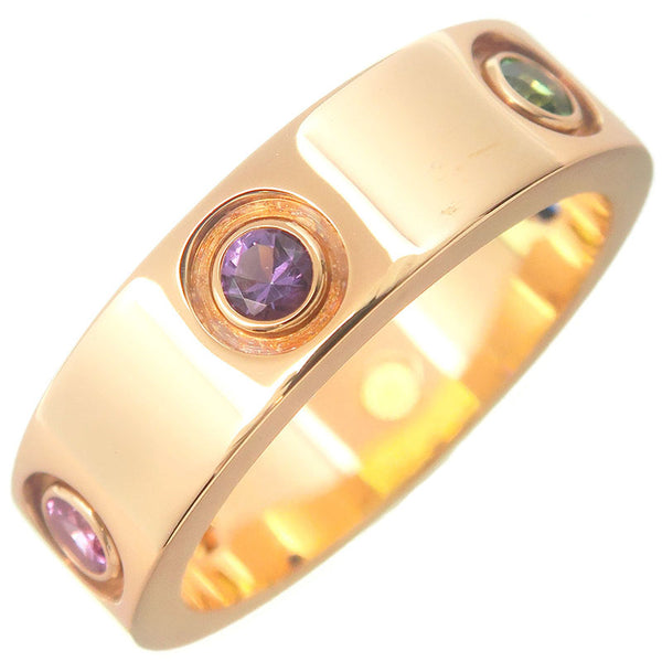Cartier-Love-Ring-Multi-Color-Stone-K18YG-#52-US6-6.5-EU-52.5